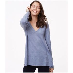 LOFT Loose-Fit V-Neck Tunic Sweater
